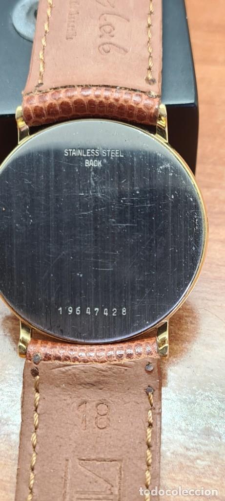 Relojes - Longines: Reloj caballero (Vintage) LONGINES cuarzo chapado oro, esfera color champan, correa de cuero marrón. - Foto 17 - 280216608
