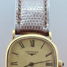 Relojes - Longines: RELOJ CABALLERO (VINTAGE) LONGINES CUARZO CHAPADO ORO, ESFERA COLOR CHAMPAN, CORREA DE CUERO MARRÓN.. Lote 280317008