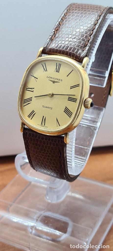 Relojes - Longines: Reloj caballero (Vintage) LONGINES cuarzo chapado oro, esfera color champan, correa de cuero marrón. - Foto 2 - 280317008