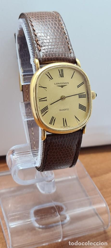Relojes - Longines: Reloj caballero (Vintage) LONGINES cuarzo chapado oro, esfera color champan, correa de cuero marrón. - Foto 3 - 280317008