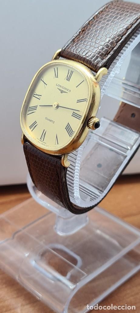 Relojes - Longines: Reloj caballero (Vintage) LONGINES cuarzo chapado oro, esfera color champan, correa de cuero marrón. - Foto 4 - 280317008