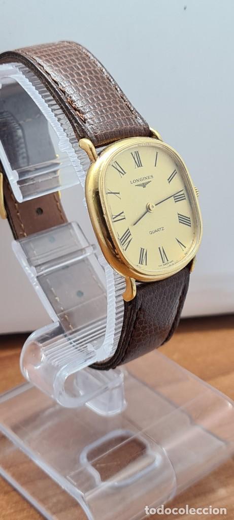 Relojes - Longines: Reloj caballero (Vintage) LONGINES cuarzo chapado oro, esfera color champan, correa de cuero marrón. - Foto 5 - 280317008
