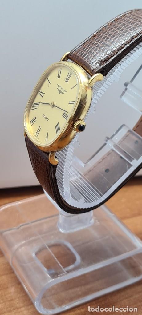 Relojes - Longines: Reloj caballero (Vintage) LONGINES cuarzo chapado oro, esfera color champan, correa de cuero marrón. - Foto 6 - 280317008