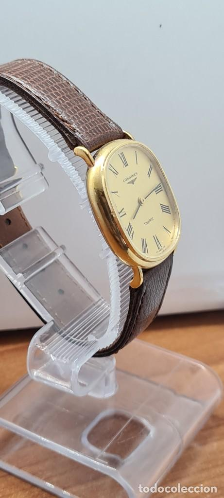 Relojes - Longines: Reloj caballero (Vintage) LONGINES cuarzo chapado oro, esfera color champan, correa de cuero marrón. - Foto 7 - 280317008