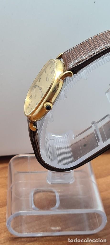 Relojes - Longines: Reloj caballero (Vintage) LONGINES cuarzo chapado oro, esfera color champan, correa de cuero marrón. - Foto 8 - 280317008