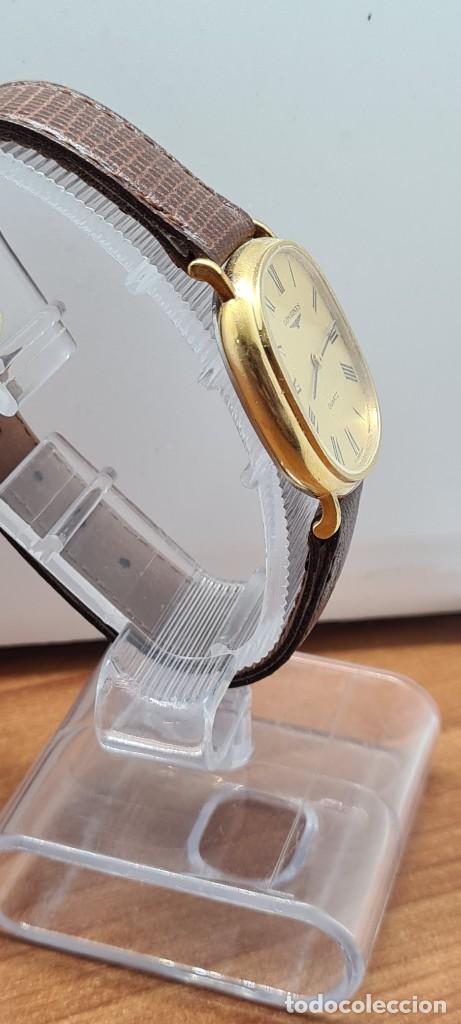 Relojes - Longines: Reloj caballero (Vintage) LONGINES cuarzo chapado oro, esfera color champan, correa de cuero marrón. - Foto 9 - 280317008