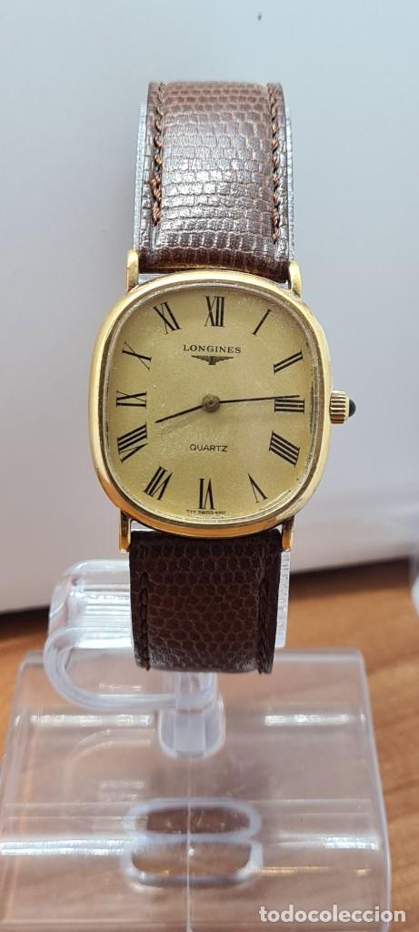 Relojes - Longines: Reloj caballero (Vintage) LONGINES cuarzo chapado oro, esfera color champan, correa de cuero marrón. - Foto 10 - 280317008