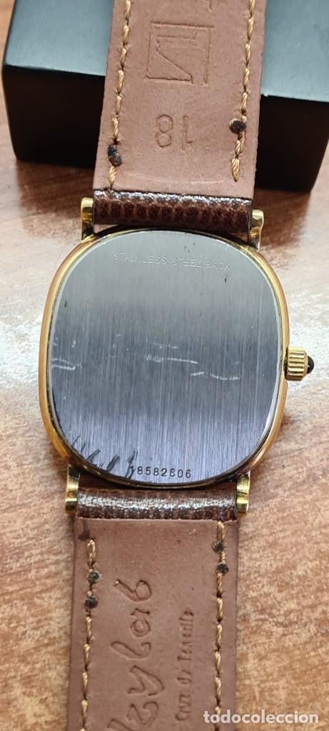 Relojes - Longines: Reloj caballero (Vintage) LONGINES cuarzo chapado oro, esfera color champan, correa de cuero marrón. - Foto 11 - 280317008