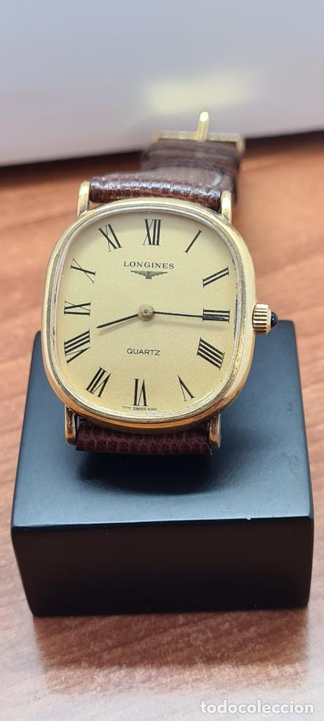Relojes - Longines: Reloj caballero (Vintage) LONGINES cuarzo chapado oro, esfera color champan, correa de cuero marrón. - Foto 12 - 280317008