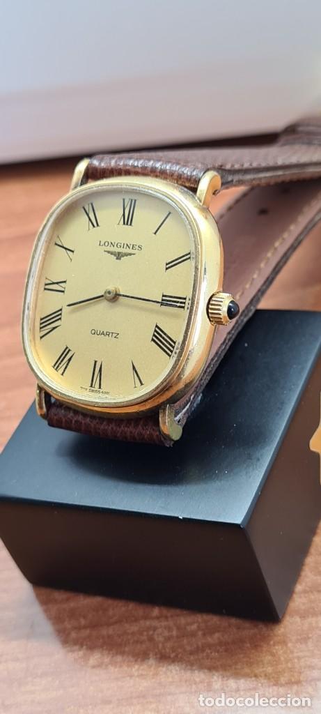 Relojes - Longines: Reloj caballero (Vintage) LONGINES cuarzo chapado oro, esfera color champan, correa de cuero marrón. - Foto 13 - 280317008