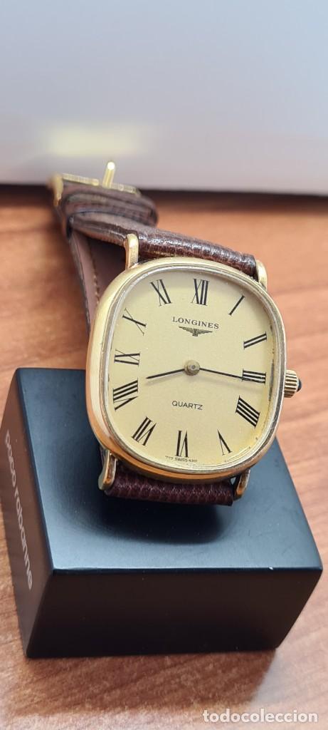 Relojes - Longines: Reloj caballero (Vintage) LONGINES cuarzo chapado oro, esfera color champan, correa de cuero marrón. - Foto 14 - 280317008