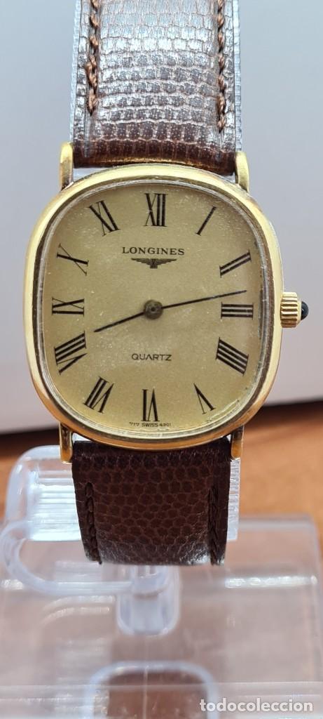 Relojes - Longines: Reloj caballero (Vintage) LONGINES cuarzo chapado oro, esfera color champan, correa de cuero marrón. - Foto 15 - 280317008