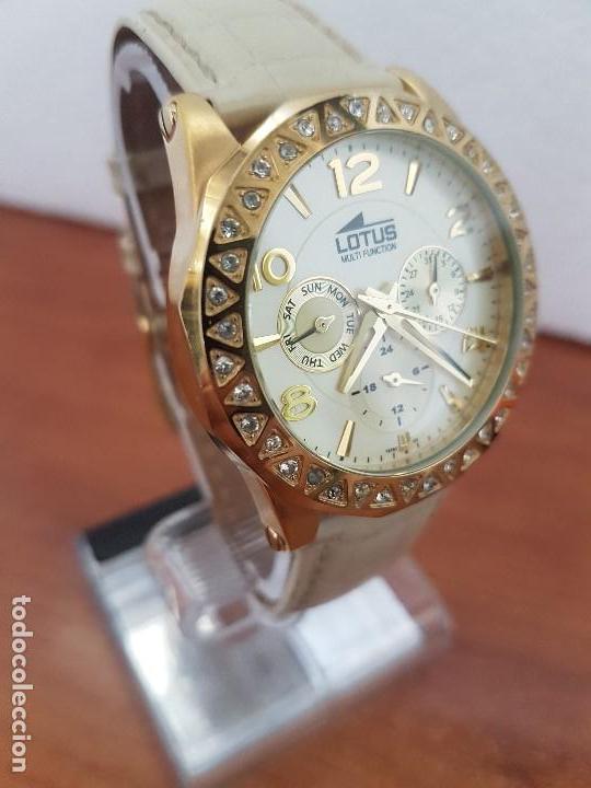 Relojes - Lotus: Reloj Unisex LOTUS cuarzo chapado de oro con circonios al rededor de la caja, correa de cuero usada - Foto 3 - 129151855
