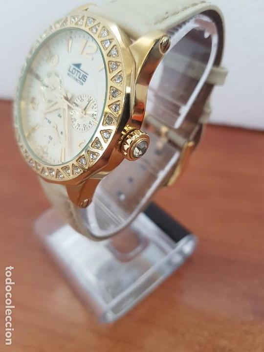 Relojes - Lotus: Reloj Unisex LOTUS cuarzo chapado de oro con circonios al rededor de la caja, correa de cuero usada - Foto 4 - 129151855