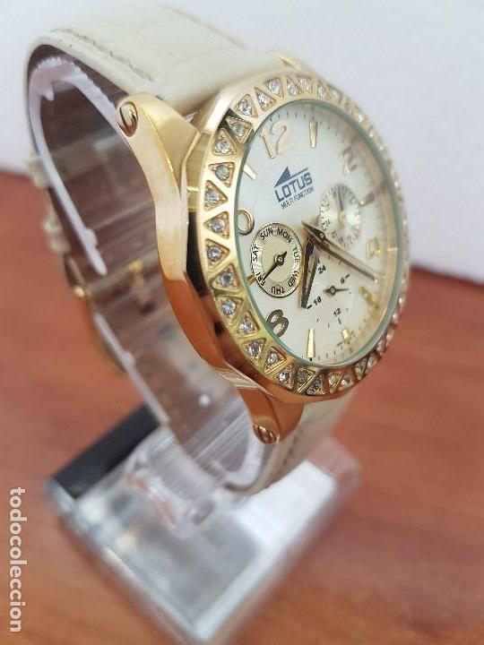 Relojes - Lotus: Reloj Unisex LOTUS cuarzo chapado de oro con circonios al rededor de la caja, correa de cuero usada - Foto 5 - 129151855