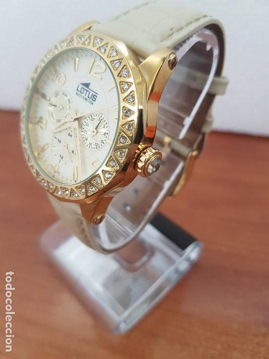 Relojes - Lotus: Reloj Unisex LOTUS cuarzo chapado de oro con circonios al rededor de la caja, correa de cuero usada - Foto 6 - 129151855
