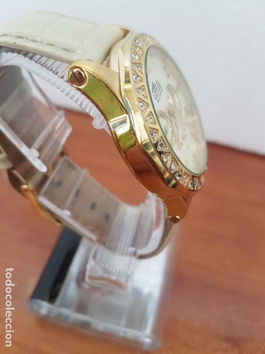 Relojes - Lotus: Reloj Unisex LOTUS cuarzo chapado de oro con circonios al rededor de la caja, correa de cuero usada - Foto 7 - 129151855