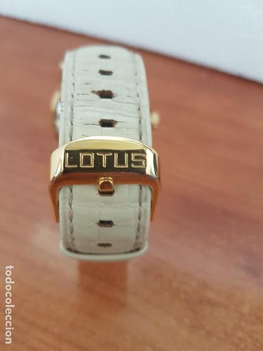 Relojes - Lotus: Reloj Unisex LOTUS cuarzo chapado de oro con circonios al rededor de la caja, correa de cuero usada - Foto 9 - 129151855