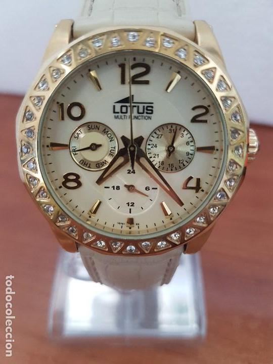Relojes - Lotus: Reloj Unisex LOTUS cuarzo chapado de oro con circonios al rededor de la caja, correa de cuero usada - Foto 11 - 129151855