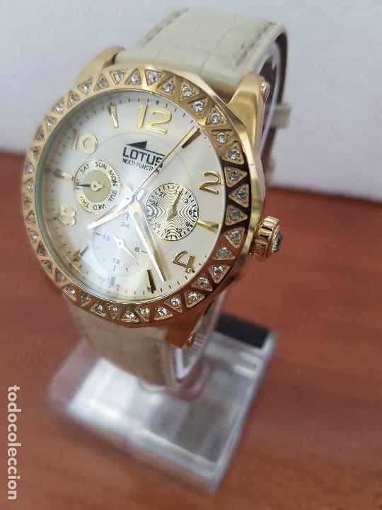 Relojes - Lotus: Reloj Unisex LOTUS cuarzo chapado de oro con circonios al rededor de la caja, correa de cuero usada - Foto 12 - 129151855