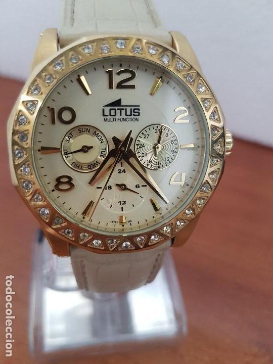 Relojes - Lotus: Reloj Unisex LOTUS cuarzo chapado de oro con circonios al rededor de la caja, correa de cuero usada - Foto 18 - 129151855