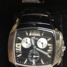 Relojes - Lotus: RELOJ LOTUS SHINY WR100 QUARTZ CHRONOGRAPH EN ACERO EN ESFERA NEGRA ESPECIAL , NUEVO. Lote 158109738
