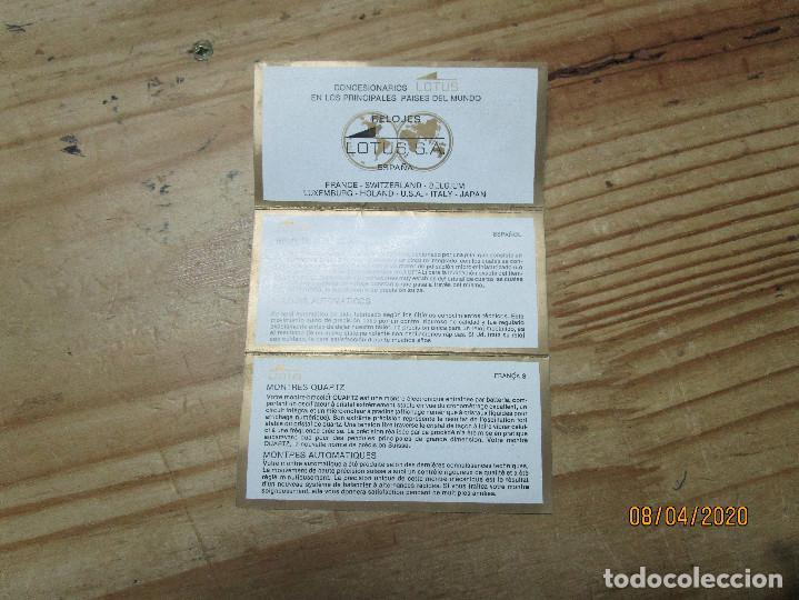 Relojes - Lotus: CERTIFICADO DE GARANTIA RELOJ LOTUS QUARTZ - Foto 3 - 199682378