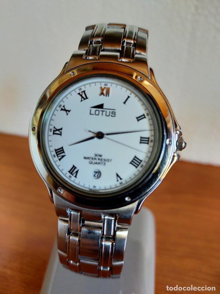 RELOJ CABALLERO DE CUARZO LOTUS EN ACERO CON CALENDARIO A LAS SEIS HORAS, CORREA DE ACERO ORIGINAL. (Relojes - Relojes Actuales - Lotus)