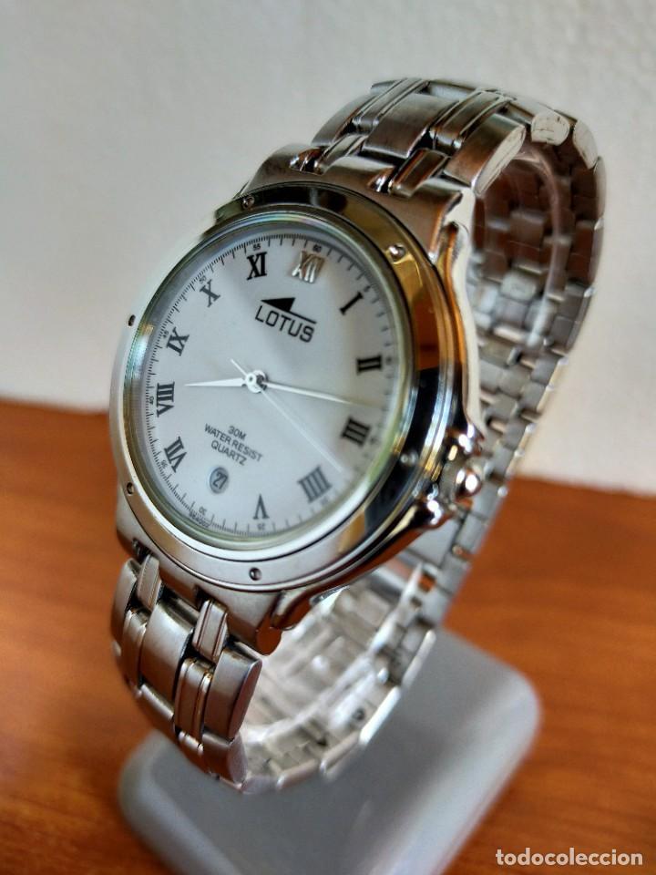 Relojes - Lotus: Reloj caballero de cuarzo LOTUS en acero con calendario a las seis horas, correa de acero original. - Foto 5 - 213945365