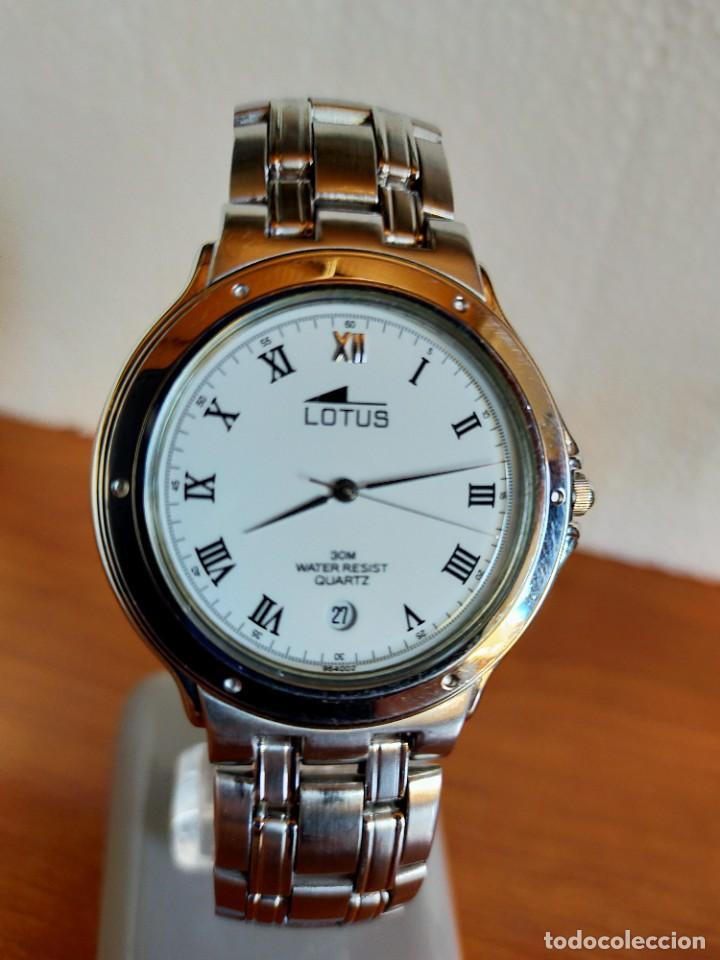 Relojes - Lotus: Reloj caballero de cuarzo LOTUS en acero con calendario a las seis horas, correa de acero original. - Foto 10 - 213945365