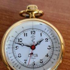 Relojes - Lotus: RELOJ DE COLGAR (VINTAGE) MARCA LOTUS DE CUARZO, ESFERA BLANCA, MAQUINARIA SUIZA CHAPADO DE ORO.. Lote 224110695