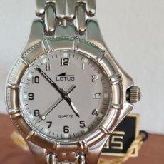 Relojes - Lotus: RELOJ CABALLERO DE CUARZO LOTUS EN ACERO CON CALENDARIO A LAS TRES HORAS, CORREA DE ACERO ORIGINAL.. Lote 244736895