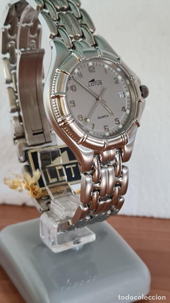 Relojes - Lotus: Reloj caballero de cuarzo LOTUS en acero con calendario a las tres horas, correa de acero original. - Foto 3 - 244736895