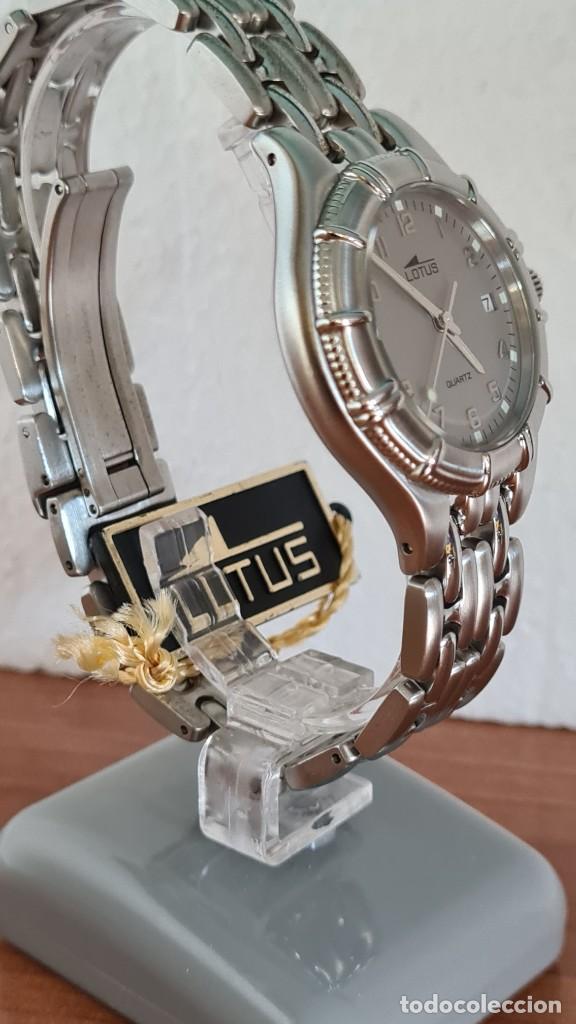 Relojes - Lotus: Reloj caballero de cuarzo LOTUS en acero con calendario a las tres horas, correa de acero original. - Foto 5 - 244736895