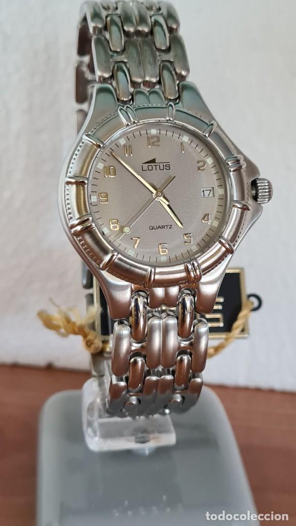 Relojes - Lotus: Reloj caballero de cuarzo LOTUS en acero con calendario a las tres horas, correa de acero original. - Foto 8 - 244736895