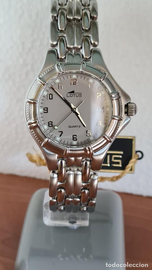 Relojes - Lotus: Reloj caballero de cuarzo LOTUS en acero con calendario a las tres horas, correa de acero original. - Foto 10 - 244736895