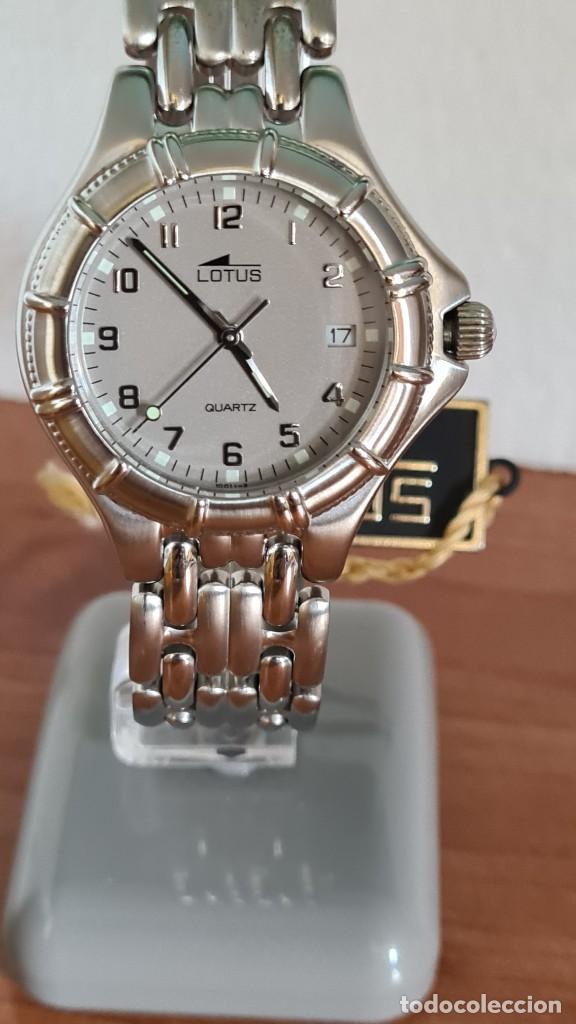 Relojes - Lotus: Reloj caballero de cuarzo LOTUS en acero con calendario a las tres horas, correa de acero original. - Foto 12 - 244736895