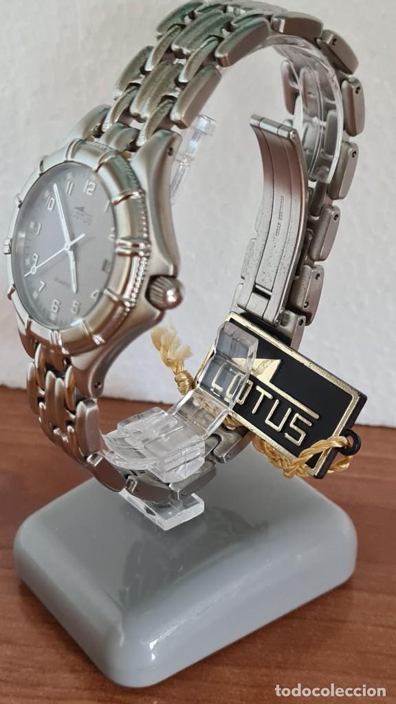 Relojes - Lotus: Reloj caballero de cuarzo LOTUS en acero con calendario a las tres horas, correa de acero original. - Foto 14 - 244736895