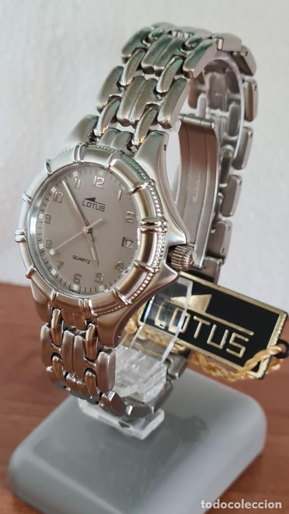 Relojes - Lotus: Reloj caballero de cuarzo LOTUS en acero con calendario a las tres horas, correa de acero original. - Foto 17 - 244736895
