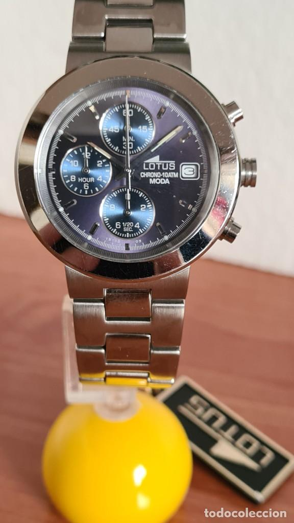 RELOJ UNISEX LOTUS DE CUARZO CRONOGRAFO, CALENDARIO A LAS TRES, CORREA DE ACERO ORIGINAL LOTUS (Relojes - Relojes Actuales - Lotus)