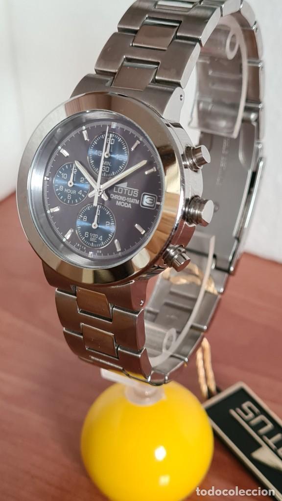 Relojes - Lotus: Reloj unisex LOTUS de cuarzo cronografo, calendario a las tres, correa de acero original LOTUS - Foto 2 - 244752320