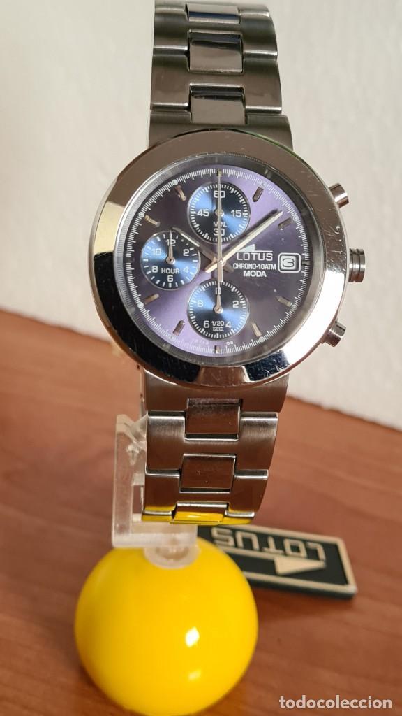 Relojes - Lotus: Reloj unisex LOTUS de cuarzo cronografo, calendario a las tres, correa de acero original LOTUS - Foto 3 - 244752320