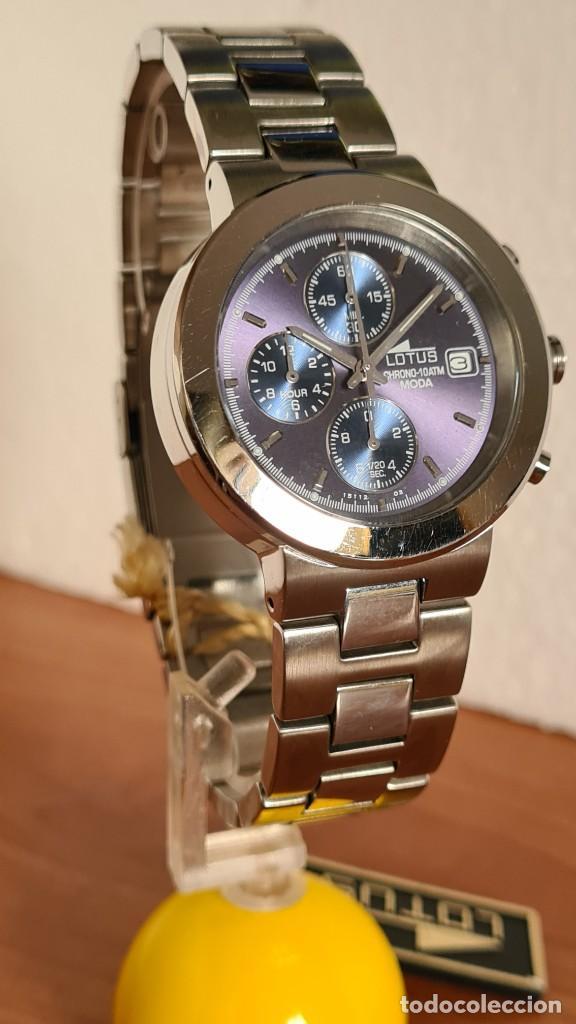 Relojes - Lotus: Reloj unisex LOTUS de cuarzo cronografo, calendario a las tres, correa de acero original LOTUS - Foto 5 - 244752320