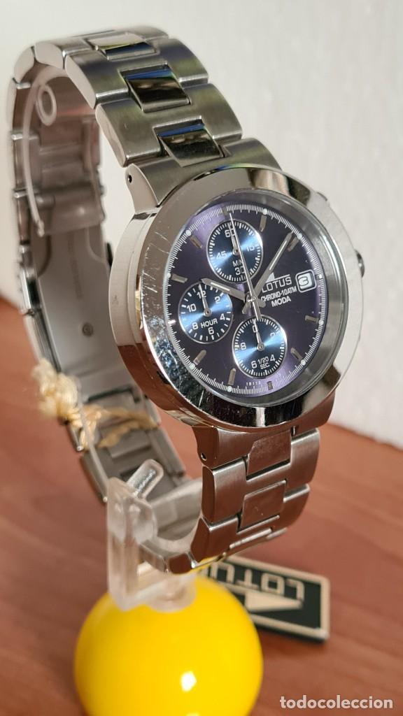 Relojes - Lotus: Reloj unisex LOTUS de cuarzo cronografo, calendario a las tres, correa de acero original LOTUS - Foto 7 - 244752320