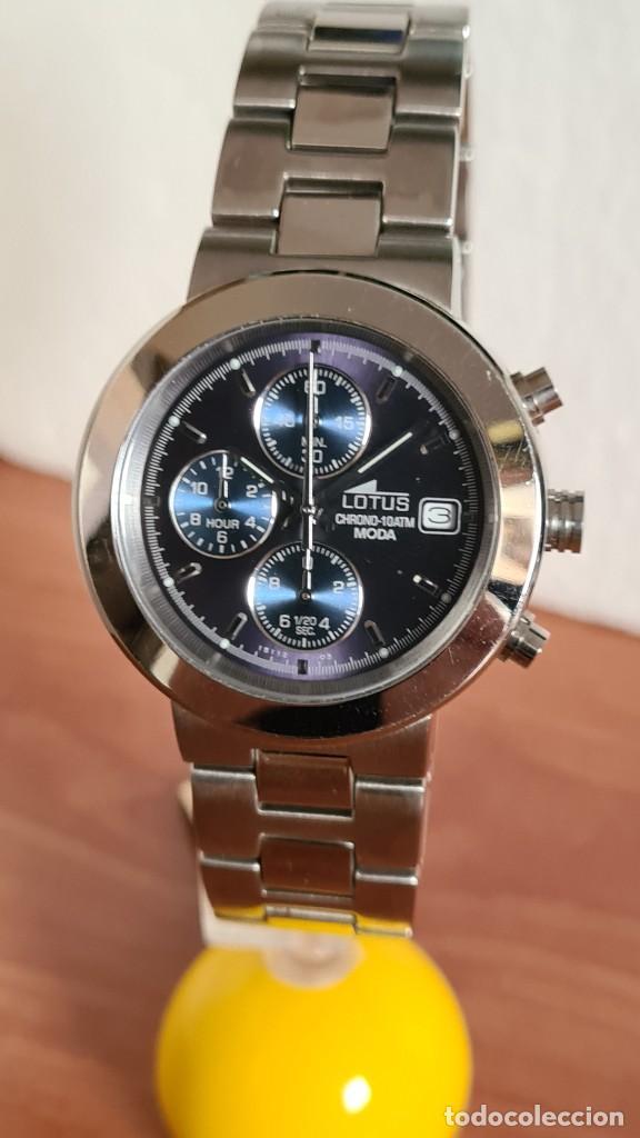 Relojes - Lotus: Reloj unisex LOTUS de cuarzo cronografo, calendario a las tres, correa de acero original LOTUS - Foto 12 - 244752320