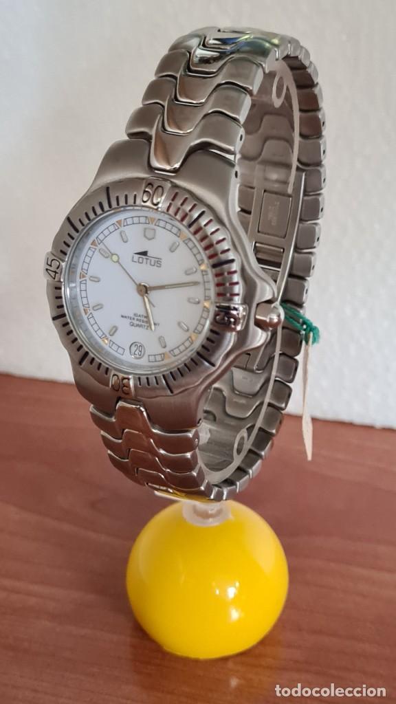 Relojes - Lotus: Reloj caballero cuarzo LOTUS acero. esfera blanca, corona rosca, correa acero original, bisel girato - Foto 2 - 244787615