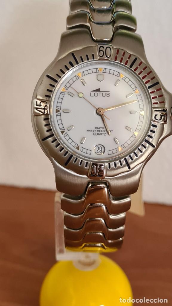 Relojes - Lotus: Reloj caballero cuarzo LOTUS acero. esfera blanca, corona rosca, correa acero original, bisel girato - Foto 3 - 244787615