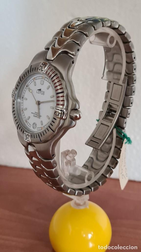Relojes - Lotus: Reloj caballero cuarzo LOTUS acero. esfera blanca, corona rosca, correa acero original, bisel girato - Foto 4 - 244787615