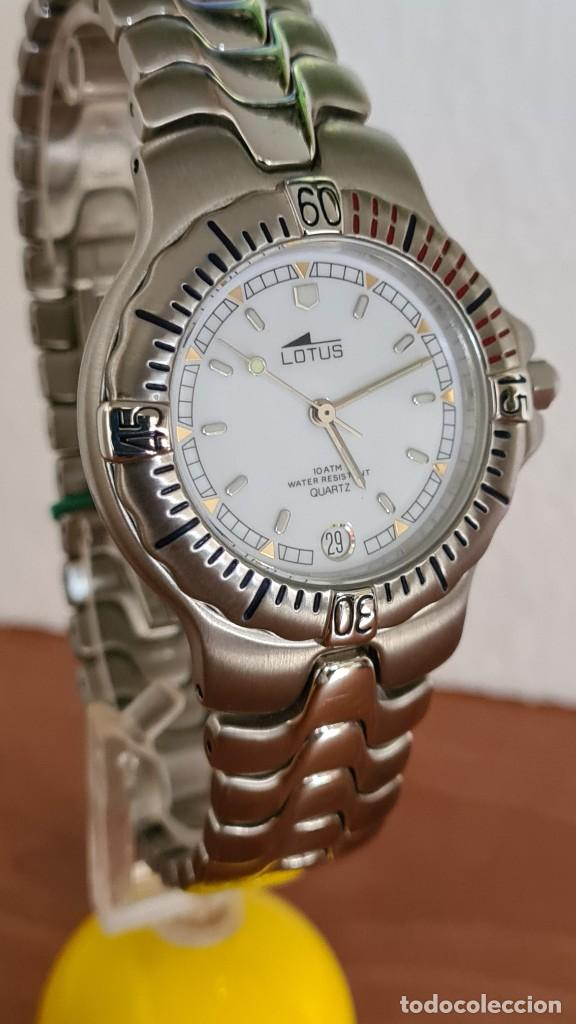 Relojes - Lotus: Reloj caballero cuarzo LOTUS acero. esfera blanca, corona rosca, correa acero original, bisel girato - Foto 5 - 244787615