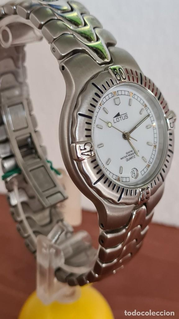 Relojes - Lotus: Reloj caballero cuarzo LOTUS acero. esfera blanca, corona rosca, correa acero original, bisel girato - Foto 7 - 244787615